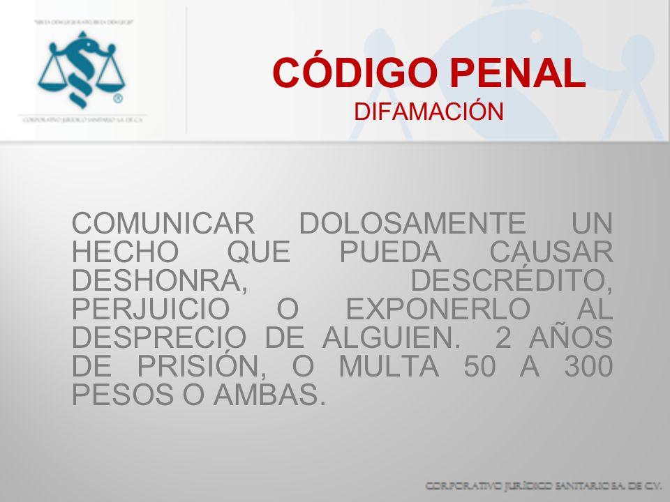 CÓDIGO PENAL DIFAMACIÓN