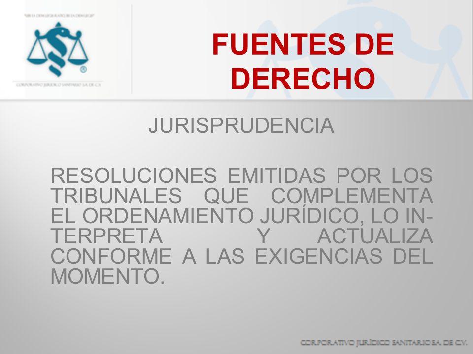 FUENTES DE DERECHO JURISPRUDENCIA