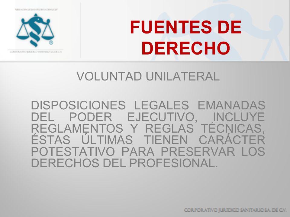 FUENTES DE DERECHO VOLUNTAD UNILATERAL