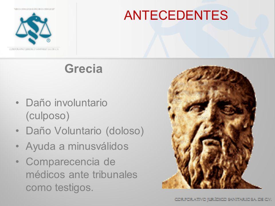 ANTECEDENTES Grecia Daño involuntario (culposo)