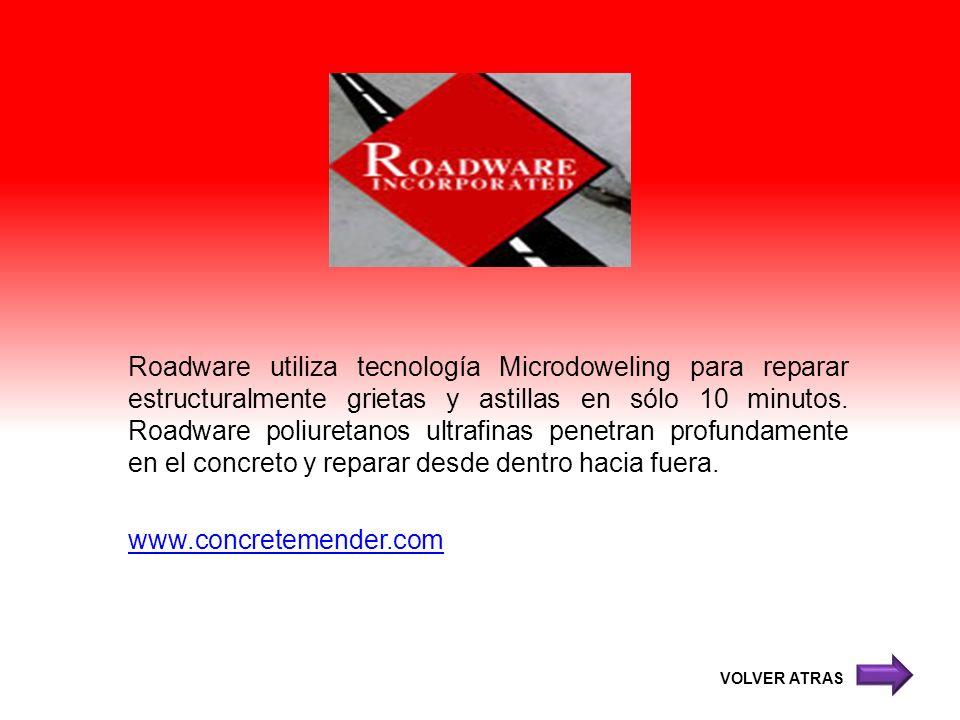 Roadware utiliza tecnología Microdoweling para reparar estructuralmente grietas y astillas en sólo 10 minutos. Roadware poliuretanos ultrafinas penetran profundamente en el concreto y reparar desde dentro hacia fuera. www.concretemender.com