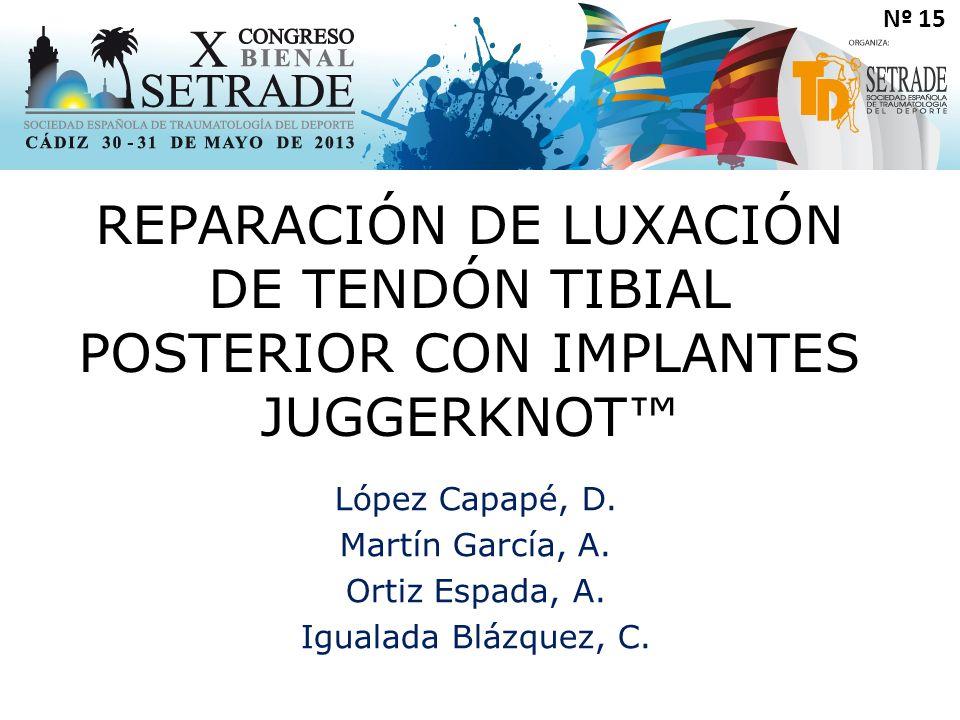 Nº 15 REPARACIÓN DE LUXACIÓN DE TENDÓN TIBIAL POSTERIOR CON IMPLANTES JUGGERKNOT™ López Capapé, D.