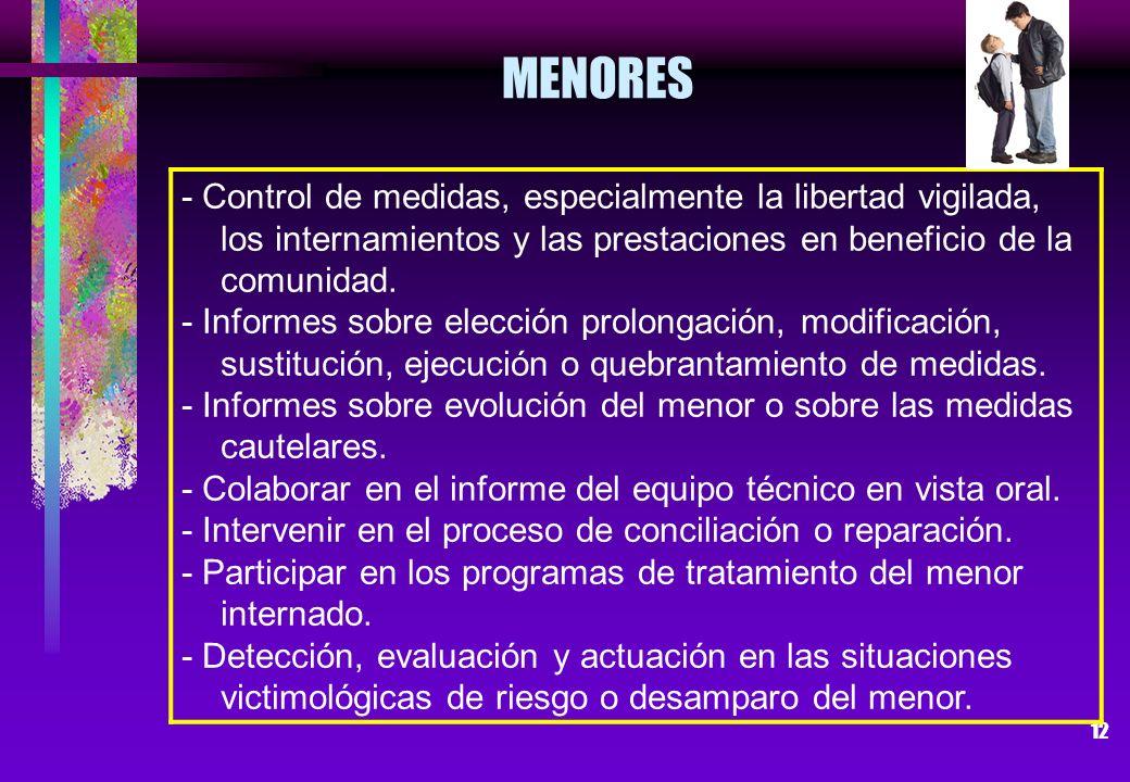 MENORES - Control de medidas, especialmente la libertad vigilada, los internamientos y las prestaciones en beneficio de la comunidad.