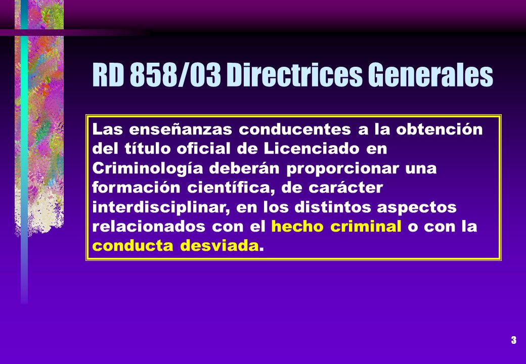 RD 858/03 Directrices Generales