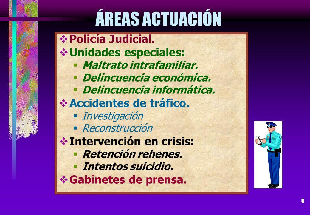 ÁREAS ACTUACIÓN Policía Judicial. Unidades especiales: