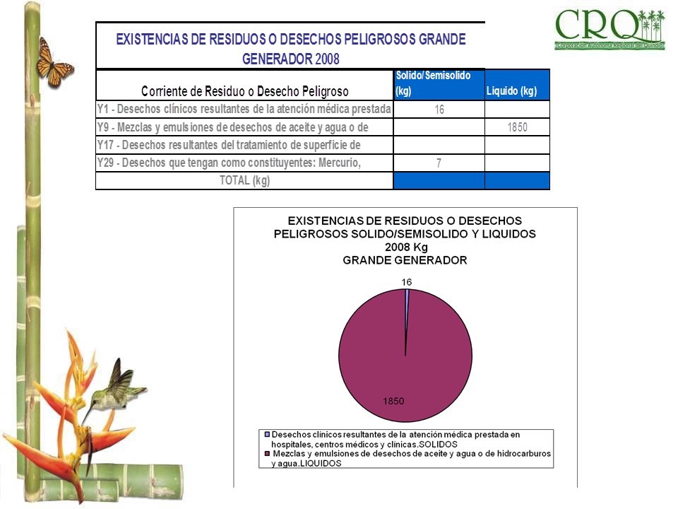 EXISTENCIAS DE RESIDUOS O DESECHOS PELIGROSOS GRANDE GENERADOR 2008