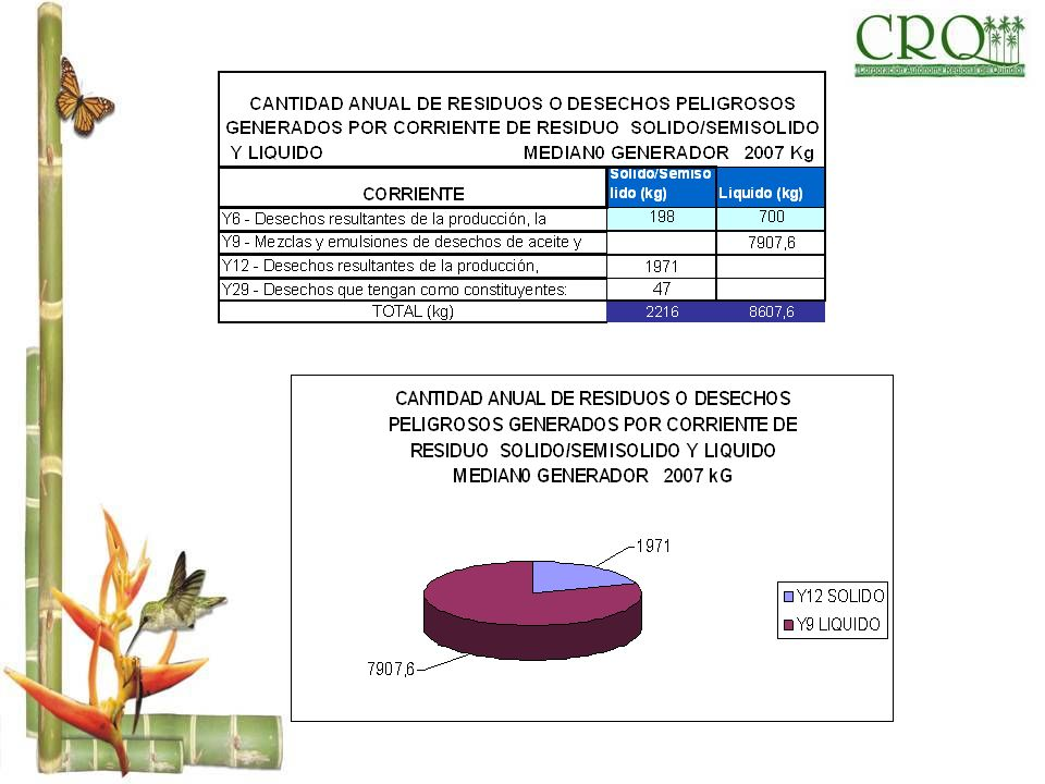 CANTIDAD ANUAL DE RESIDUOS O DESECHOS PELIGROSOS GENERADOS POR CORRIENTE DE RESIDUO SOLIDO/SEMISOLIDO Y LIQUIDO MEDIAN0 GENERADOR 2007 Kg