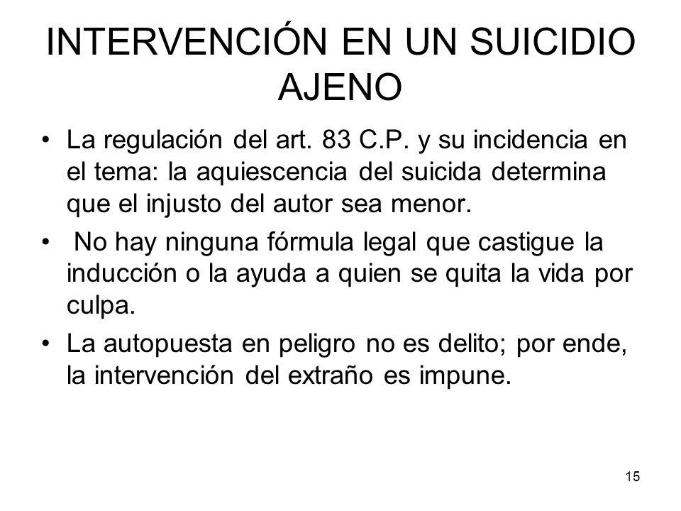 INTERVENCIÓN EN UN SUICIDIO AJENO
