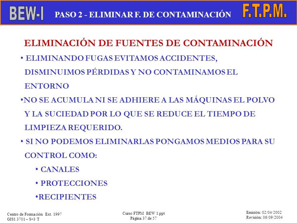 ELIMINACIÓN DE FUENTES DE CONTAMINACIÓN