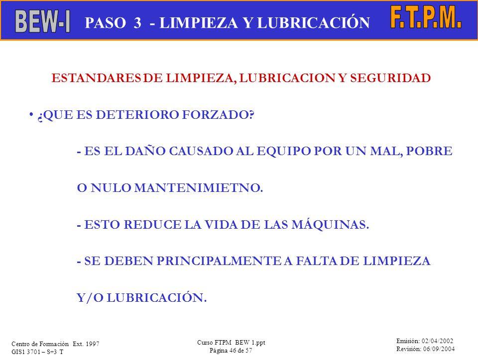 ESTANDARES DE LIMPIEZA, LUBRICACION Y SEGURIDAD