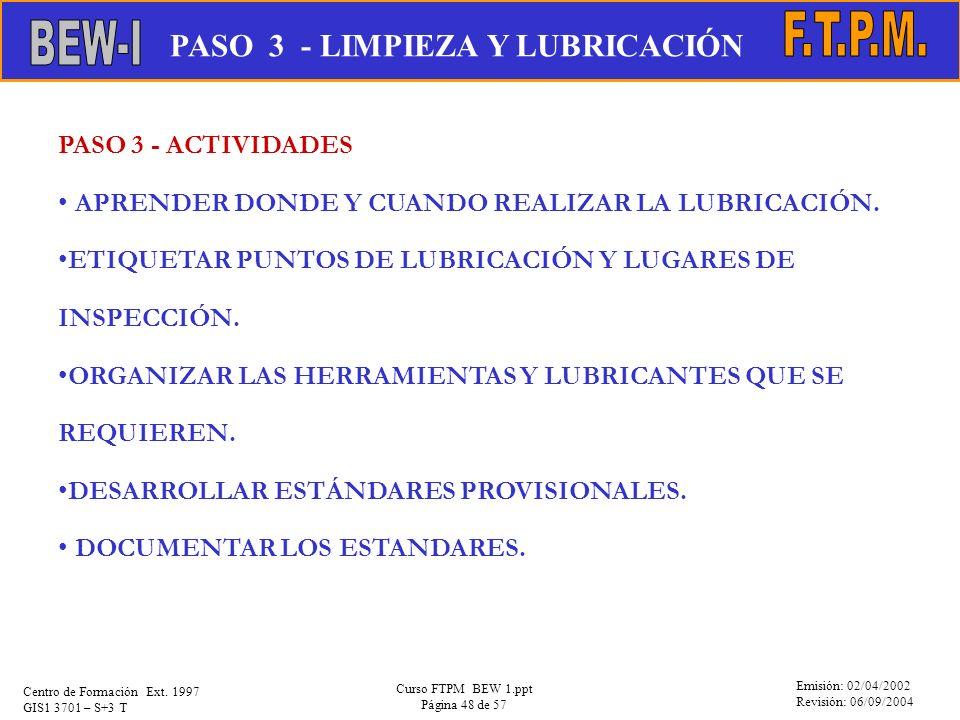 PASO 3 - LIMPIEZA Y LUBRICACIÓN