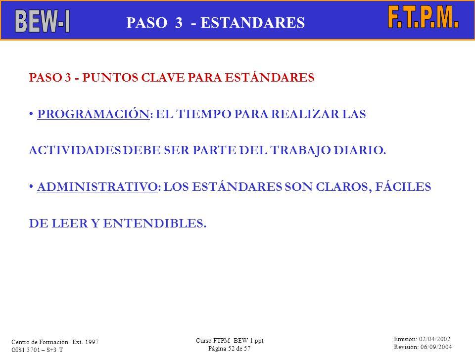 BEW-I F.T.P.M. PASO 3 - ESTANDARES
