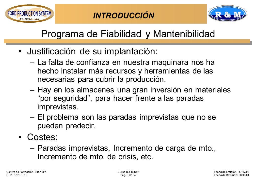 Programa de Fiabilidad y Mantenibilidad