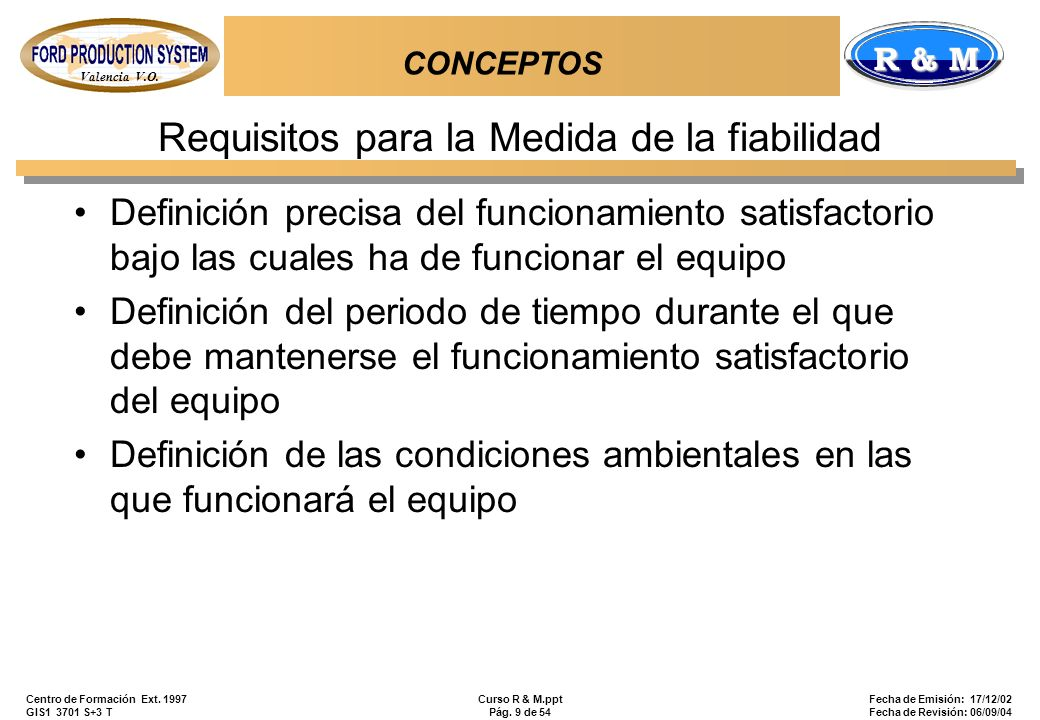 Requisitos para la Medida de la fiabilidad