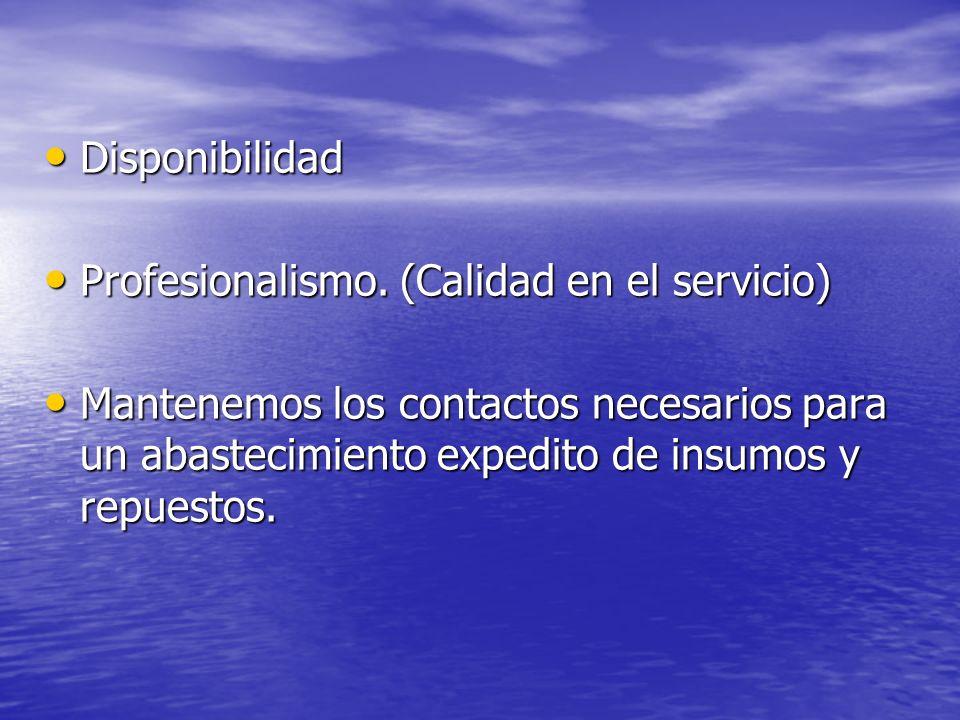 Disponibilidad Profesionalismo.