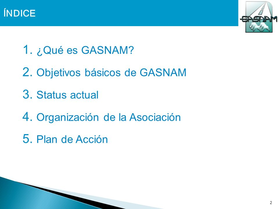 Objetivos básicos de GASNAM Status actual