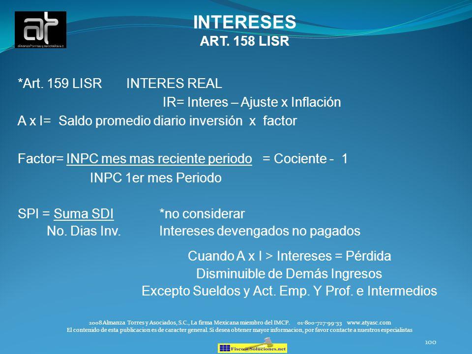 INTERESES ART. 158 LISR *Art. 159 LISR INTERES REAL