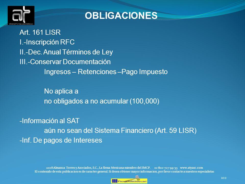OBLIGACIONES Art. 161 LISR I.-Inscripción RFC