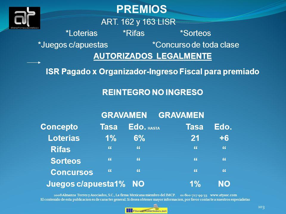 PREMIOS ART. 162 y 163 LISR *Loterias *Rifas *Sorteos