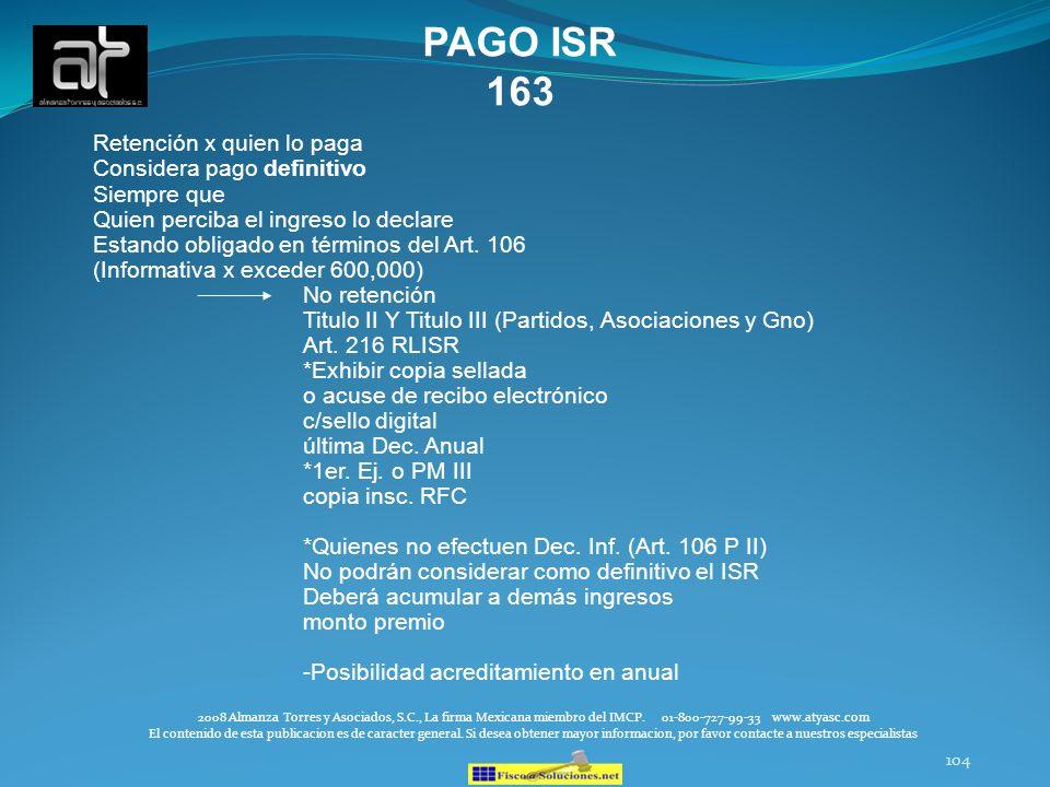 PAGO ISR 163 Retención x quien lo paga Considera pago definitivo