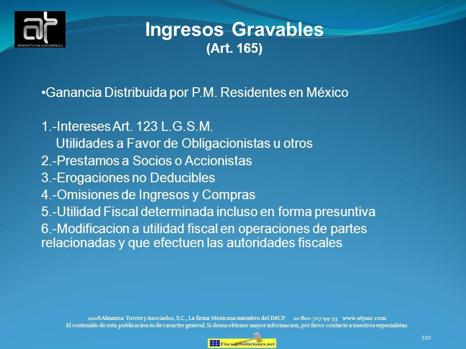 Ingresos Gravables (Art. 165)