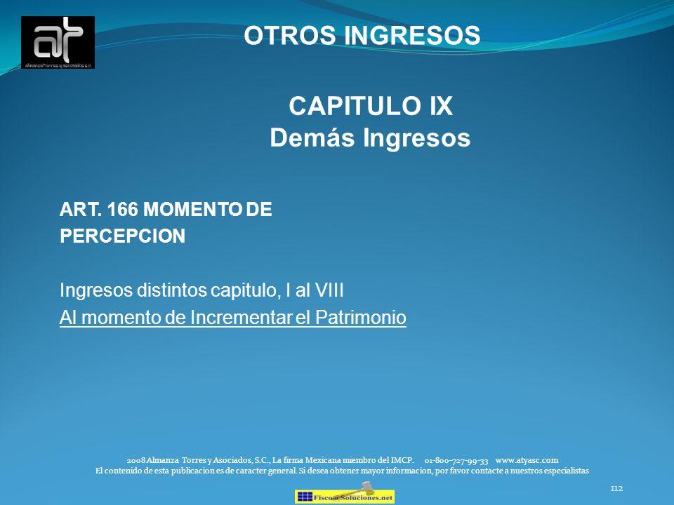 CAPITULO IX Demás Ingresos