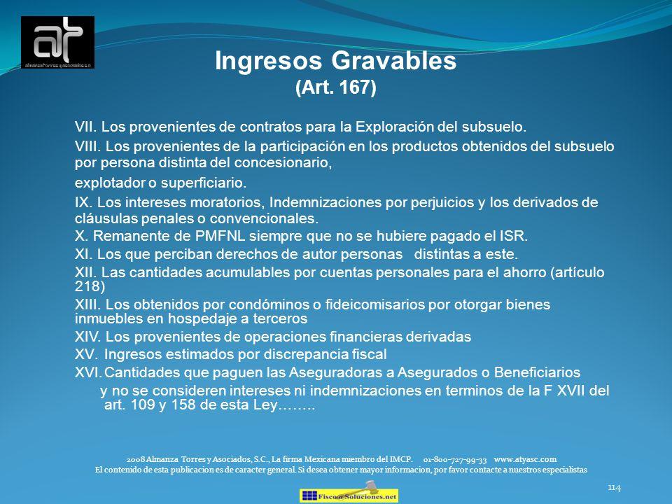 Ingresos Gravables (Art. 167)
