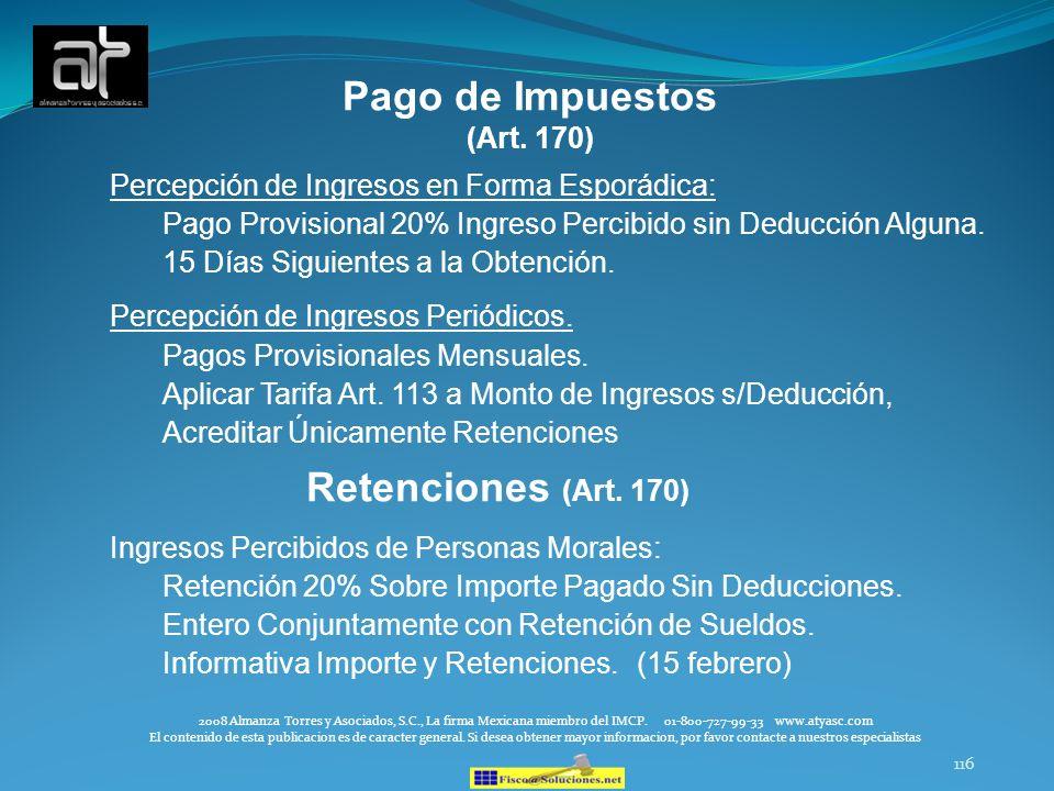 Pago de Impuestos Retenciones (Art. 170)