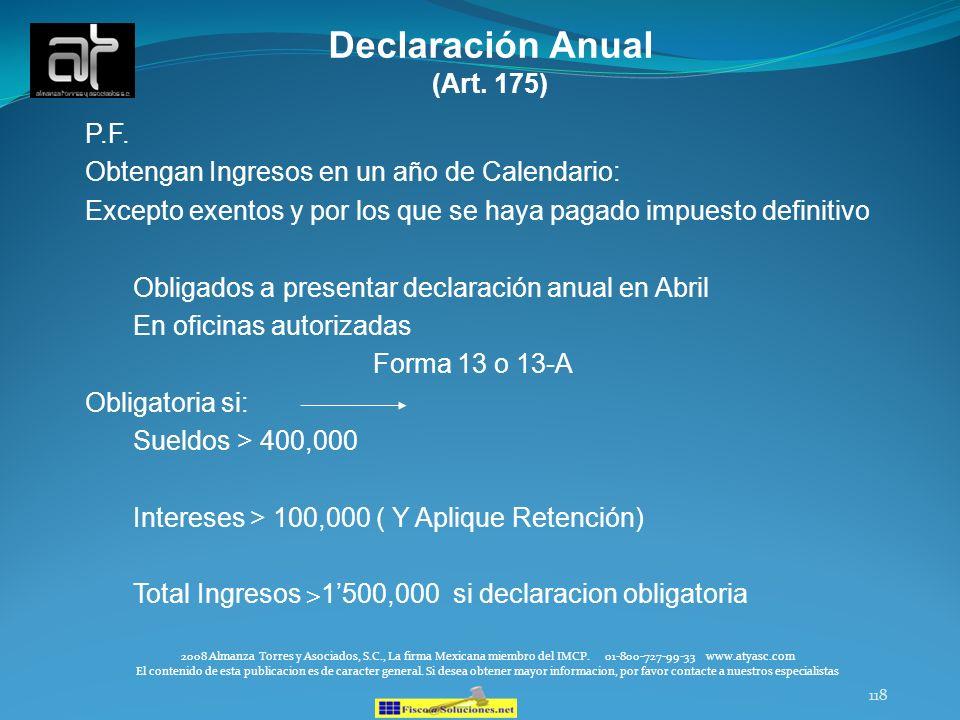 Declaración Anual (Art. 175) P.F.
