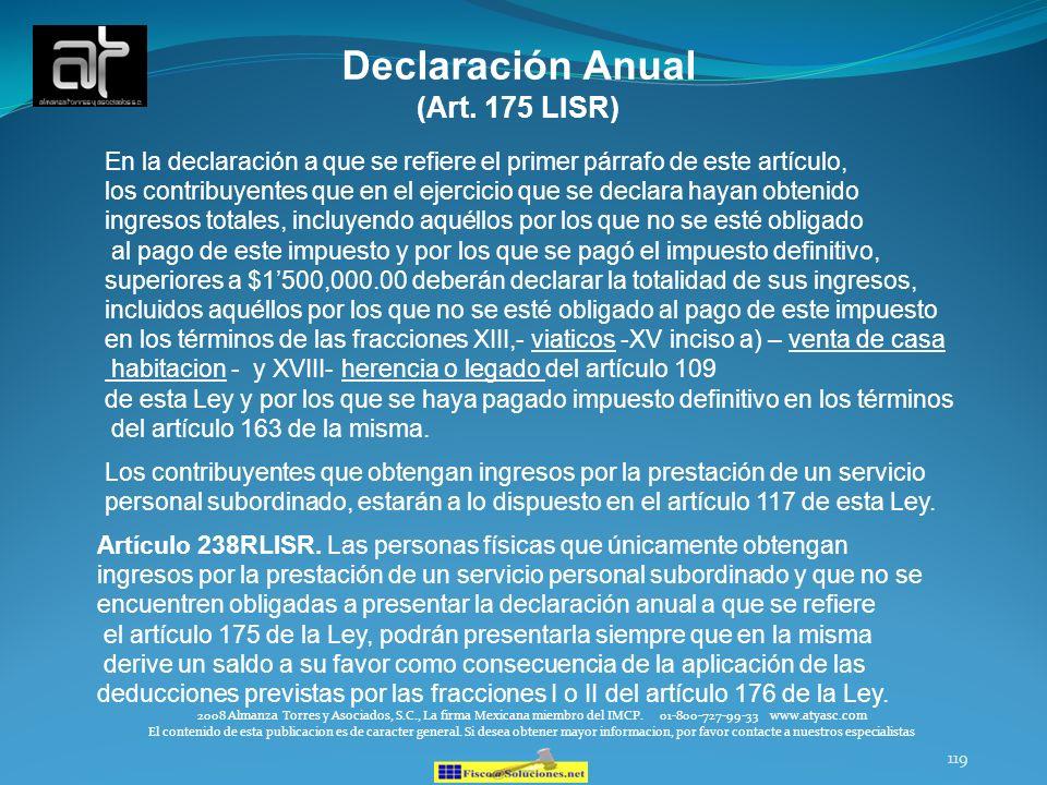 Declaración Anual (Art. 175 LISR)