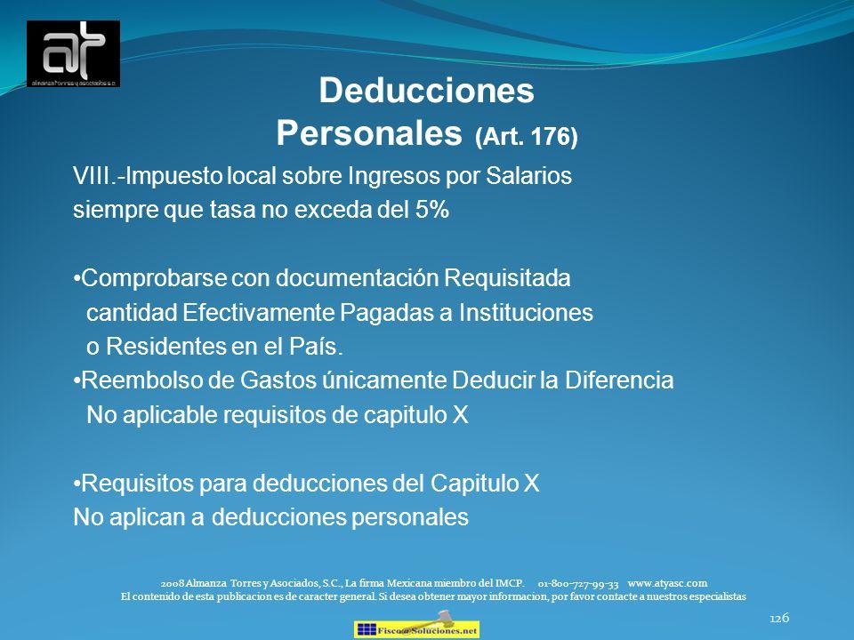 Deducciones Personales (Art. 176)