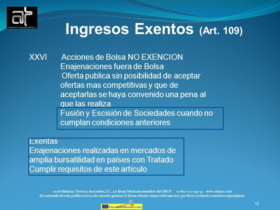 Ingresos Exentos (Art. 109)