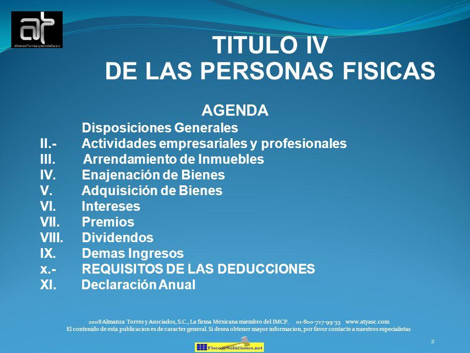 TITULO IV DE LAS PERSONAS FISICAS