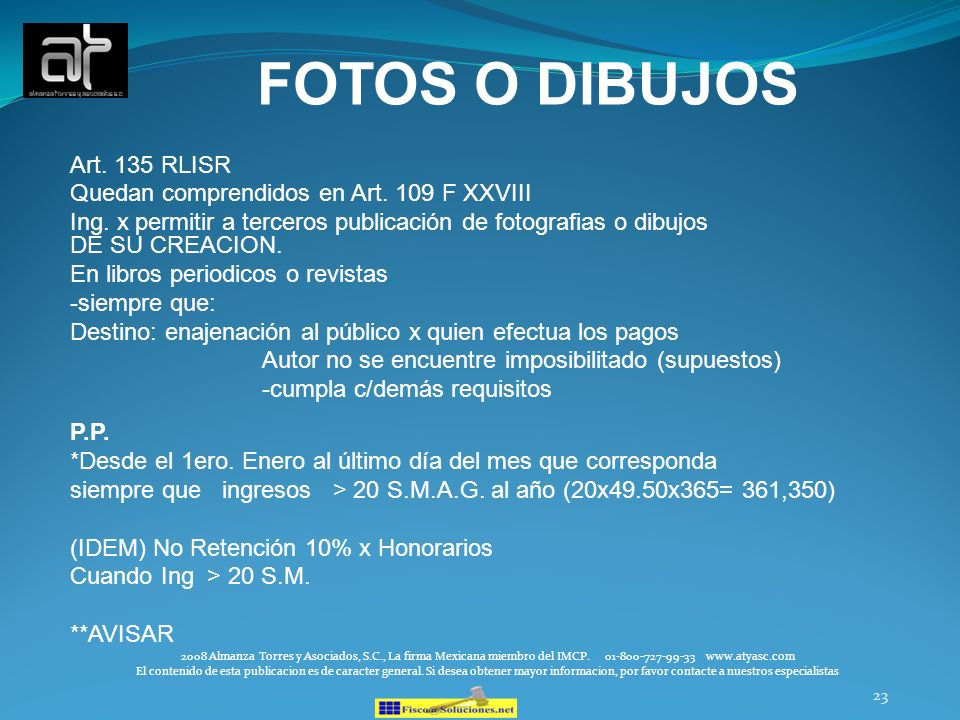 FOTOS O DIBUJOS Art. 135 RLISR