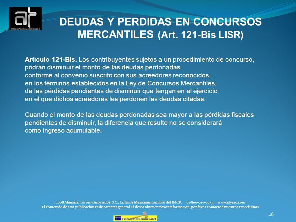 DEUDAS Y PERDIDAS EN CONCURSOS MERCANTILES (Art. 121-Bis LISR)
