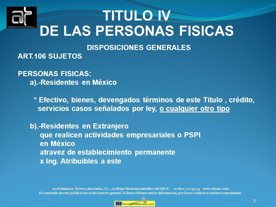 TITULO IV DE LAS PERSONAS FISICAS DISPOSICIONES GENERALES