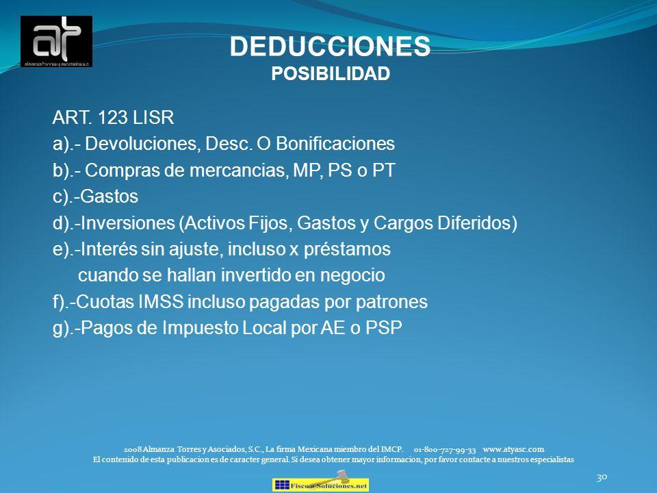 DEDUCCIONES POSIBILIDAD ART. 123 LISR