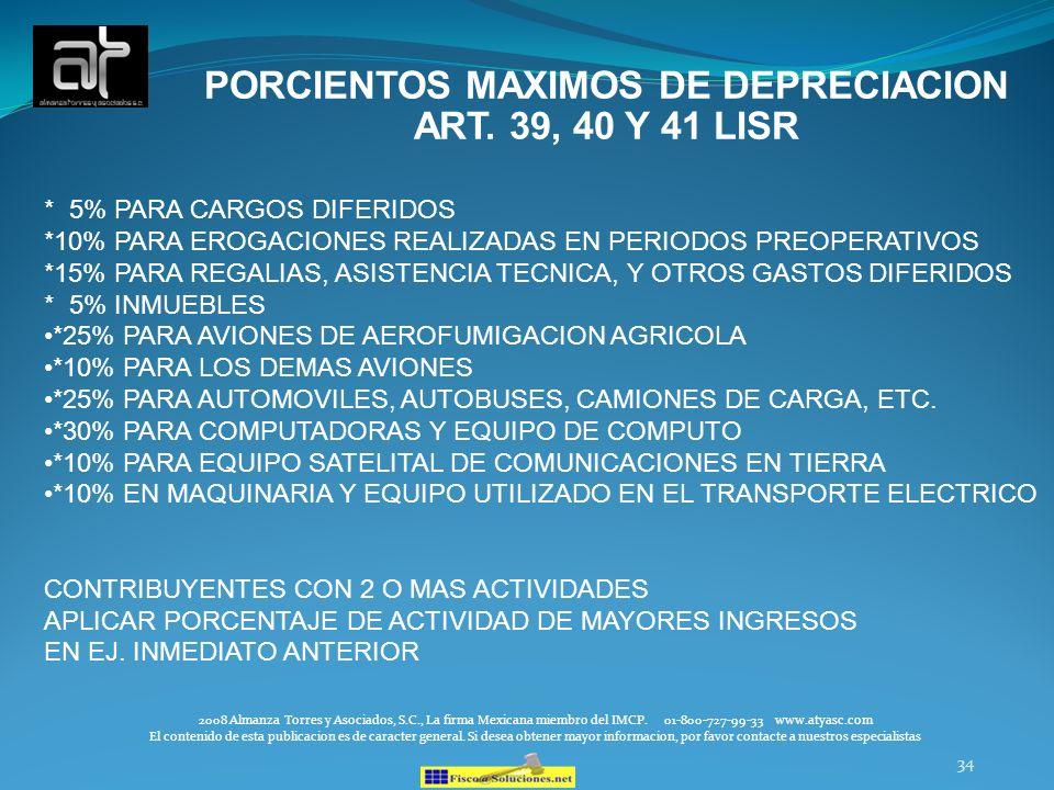 PORCIENTOS MAXIMOS DE DEPRECIACION