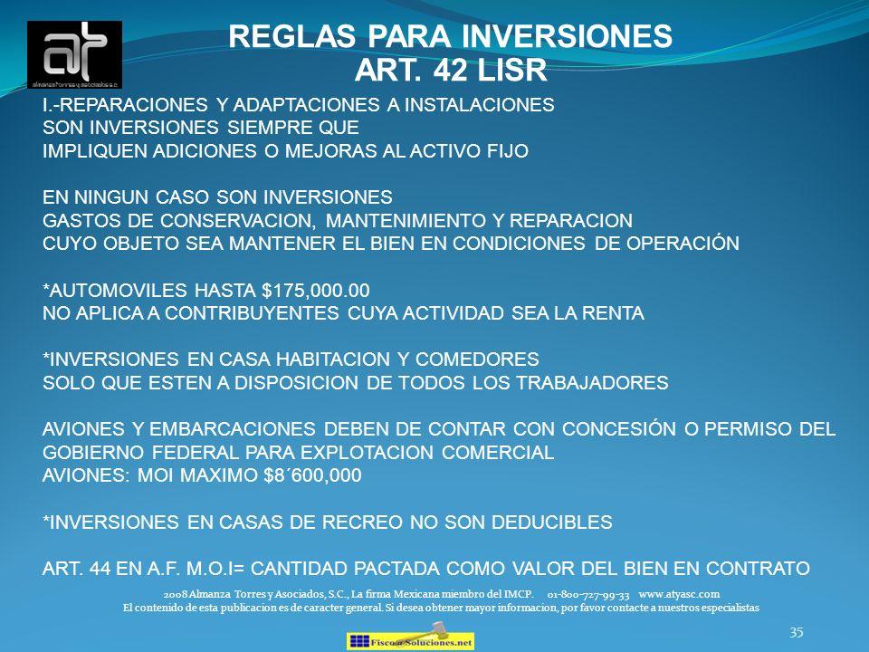 REGLAS PARA INVERSIONES