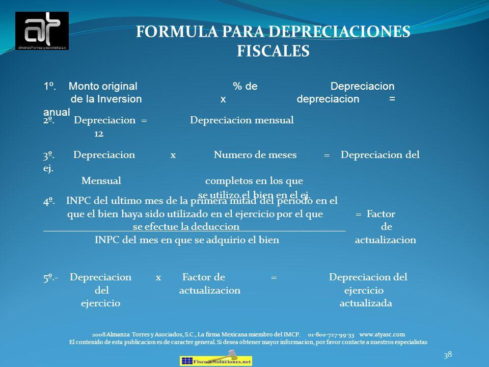 FORMULA PARA DEPRECIACIONES FISCALES