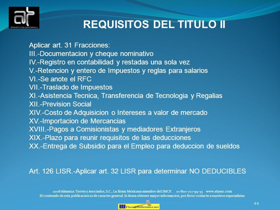 REQUISITOS DEL TITULO II