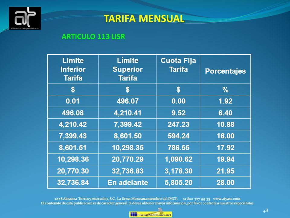 Limite Inferior Tarifa Límite Superior Tarifa
