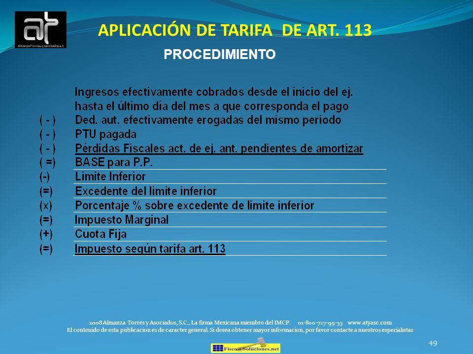 APLICACIÓN DE TARIFA DE ART. 113