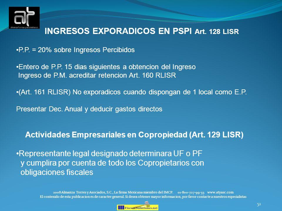 Actividades Empresariales en Copropiedad (Art. 129 LISR)