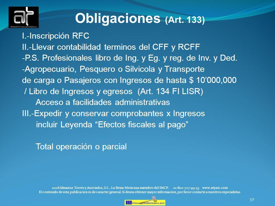 Obligaciones (Art. 133) I.-Inscripción RFC