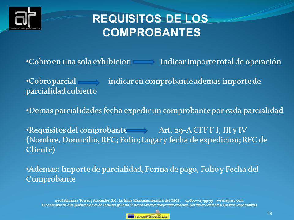 REQUISITOS DE LOS COMPROBANTES
