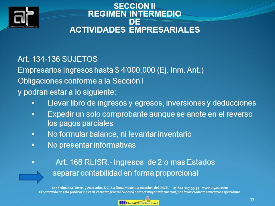 SECCION II REGIMEN INTERMEDIO DE ACTIVIDADES EMPRESARIALES