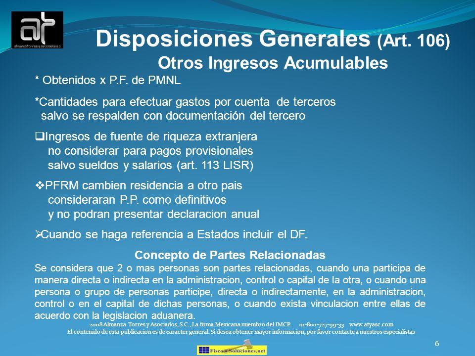 Disposiciones Generales (Art. 106)