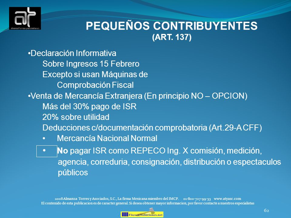 PEQUEÑOS CONTRIBUYENTES (ART. 137)