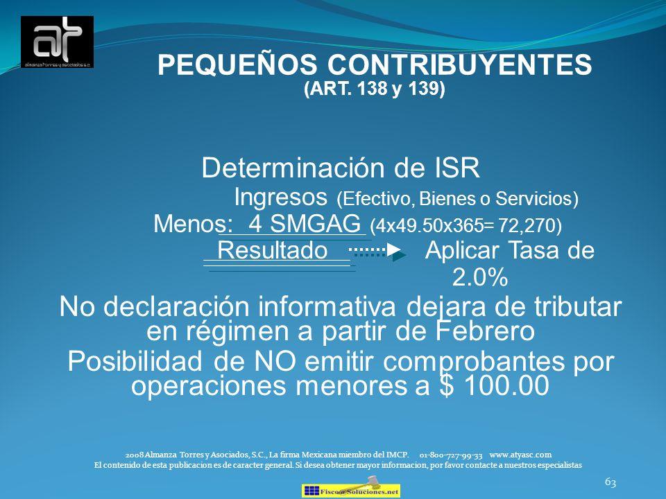 PEQUEÑOS CONTRIBUYENTES (ART. 138 y 139)